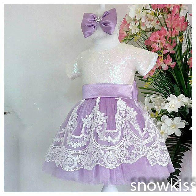 Lavender tulle Lace flower girl dresses baby Birthday Party Dress beauty toddler girl pageant dresses ball gowns with headpiece 2017 long sleeves flower girl dresses with violet bow lace baby birthday party dress ball gowns toddler princess pageant dresses