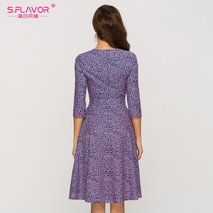 Image 5 - S.FLAVOR Casual Purple Floral Printed Women Dress Classic O neck Short A line Dress For Female Elegant 2020 Summer Vestidos