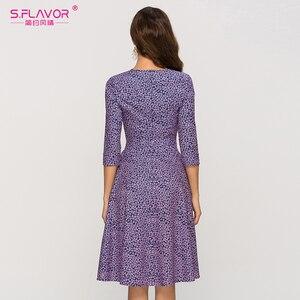 Image 5 - S.FLAVOR Casual púrpura Floral impreso mujeres vestido clásico o cuello corto A line vestido para mujer elegante 2020 verano Vestidos