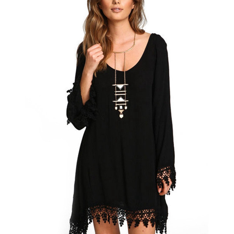 Shirt Tunic Sundress Long-Sleeve Black Plus-Size Lace-Up Party-Tassel Women 5XL Vestidos