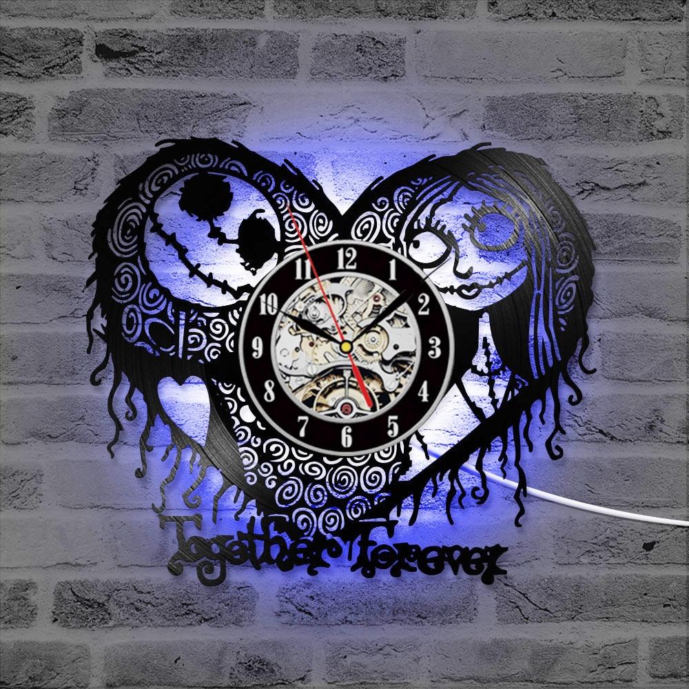 Decoración del hogar pesadilla antes de Navidad corazón patrón vinilo registro reloj hueco creativo estilo antiguo CD grabar reloj LED