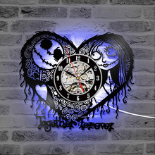 Home Decor Nightmare Before Christmas Heart Pattern Vinyl Record Clock Hollow Creative Antique Style CD Record LED Clock nightmare nightmare one night of insurrection cd dvd