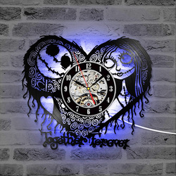 Home Decor Nightmare Before Christmas Heart Pattern Vinyl Record Clock Hollow Creative Antique Style CD Record LED Clock