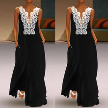 Women Vintage Daily Casual V Neck Splicing Sleeveless Lace Hollow Summer Out Dress Vestidos de festa 7.23 leisure style scoop neck sleeveless lace splicing black dress for women