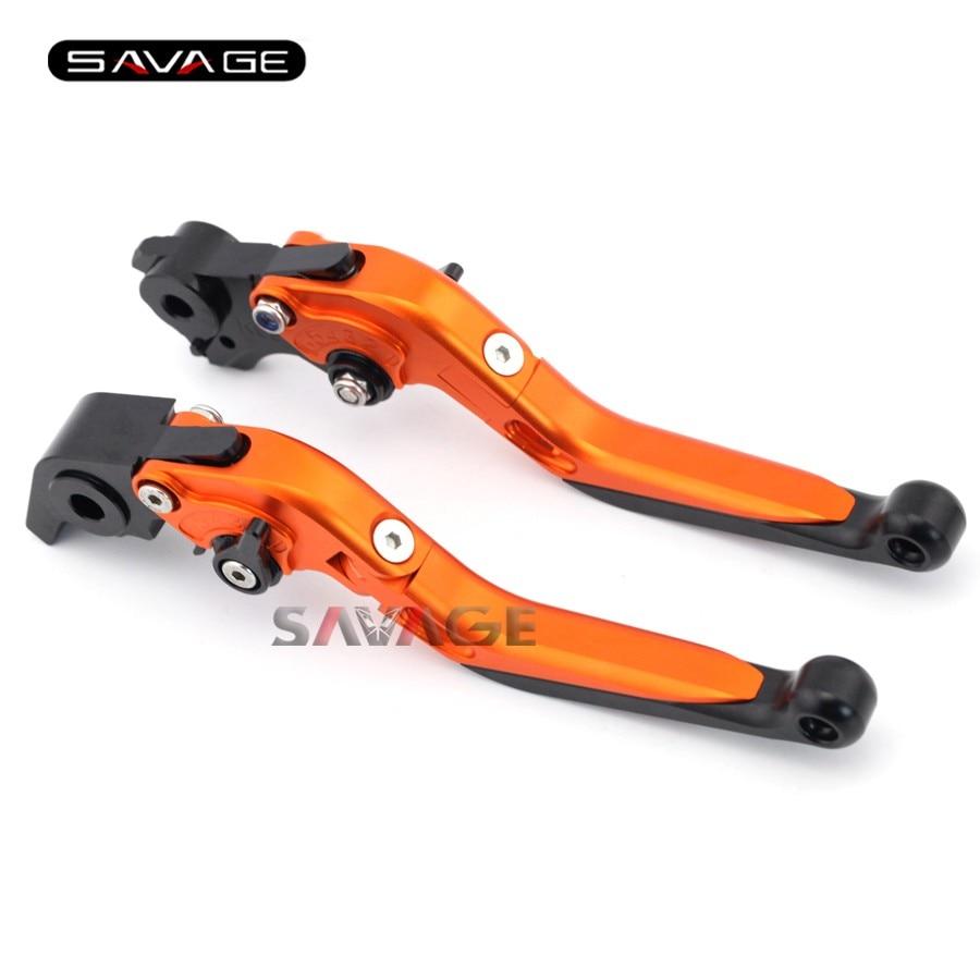 For KTM 690 DUKE R 2014-2015 Motorcycle Accessories Adjustable Folding Extendable Brake Clutch Levers Orange
