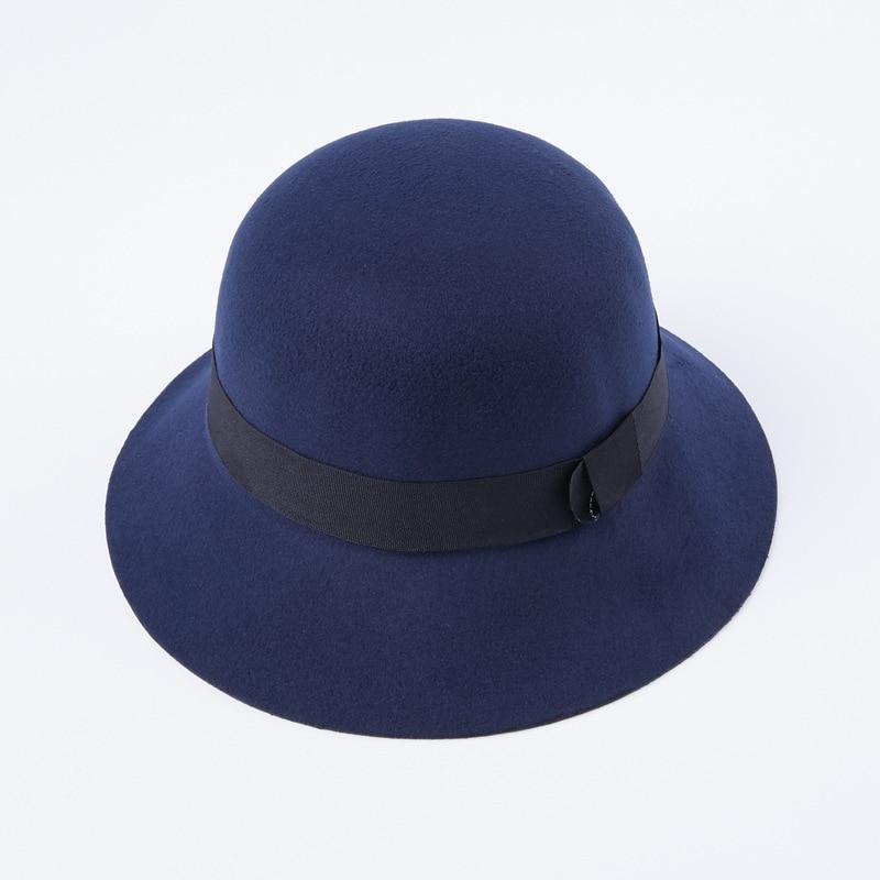 cc1bf8c3c9b94 Women Wool Felt Fedora Hats Fashion Ladies Girls Stingy Brim Bucket Hats  Autumn Winter Female Dome