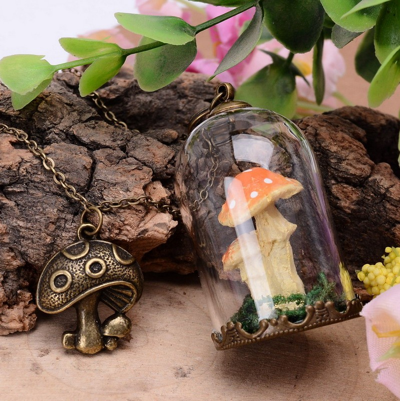 Online get cheap glass mushroom pendants aliexpress alibaba group handmade resin mushroom moss glass bottle pendant necklaces vintage ancient bronze color necklaces for women jewelry mozeypictures Images
