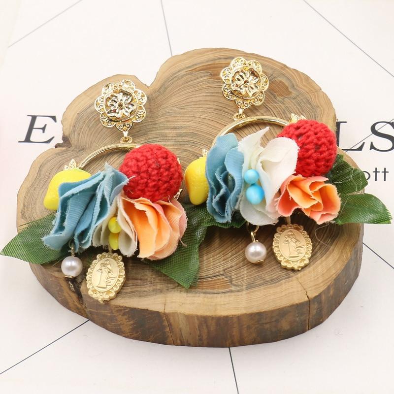 New Baroque Tassel Earring Fur Ball wreath Flower Dangle Earrings For font b Women b font