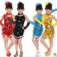2012 kinderen latin dans jurk nieuwe meisje prestaties rok pailletten (rok + broek + handschoenen + hoofdband + sjaal)