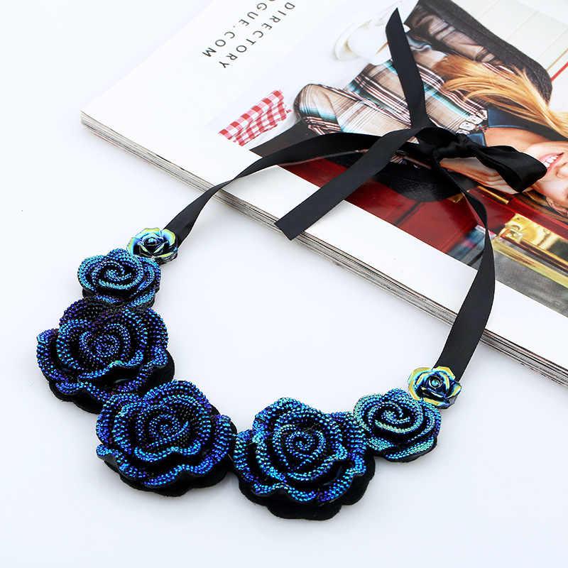 עיצוב אופנה חמה מכירת שרשרת קמליה רוז פרח שרשרת חבל שחור בציר נשים תחרה קצרה שרשרת סיטונאי מתנת חברים