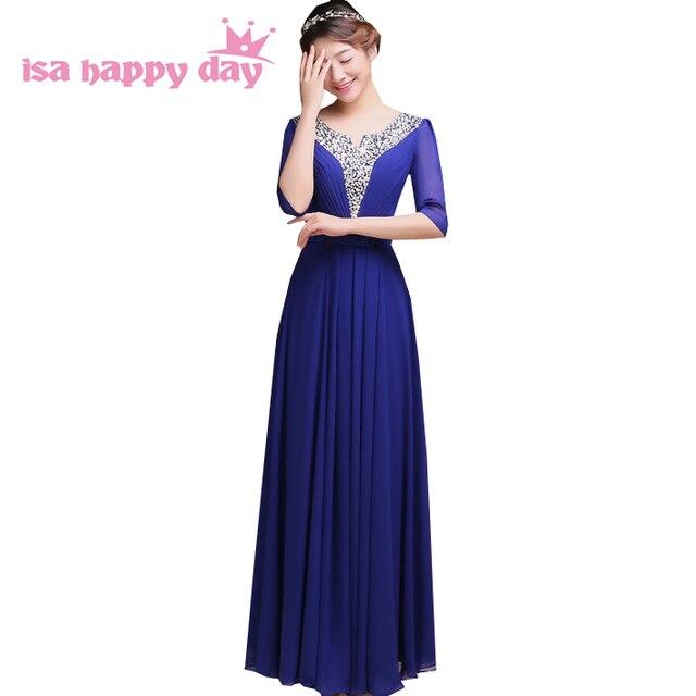 a23fa84a6 Mais longo de uma linha v pescoço roxo mangas compridas prom elegant royal  blue vestido mulheres