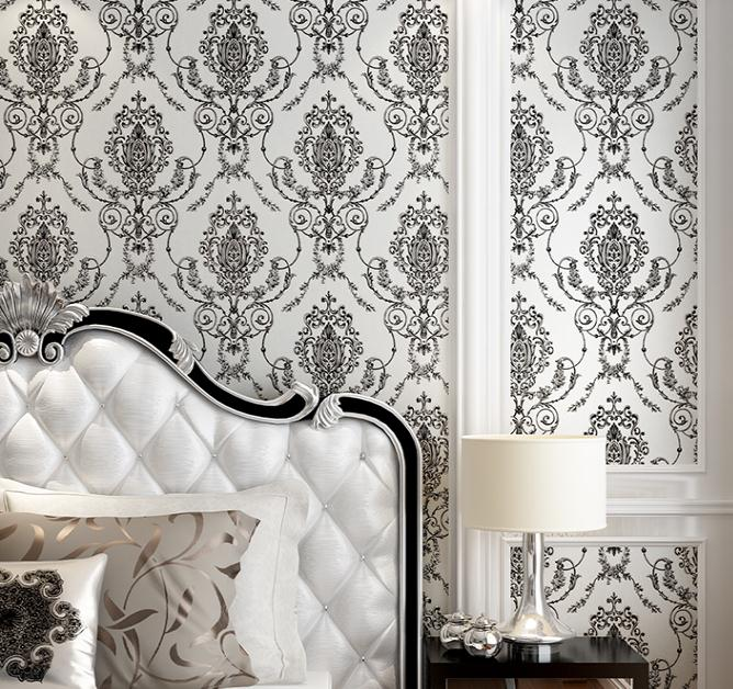 Clic White And Black Damask Wallpaper Match Vertical Stripes Home Decor Wall Papel De Parede Para Sala Atacado In Wallpapers From Improvement On