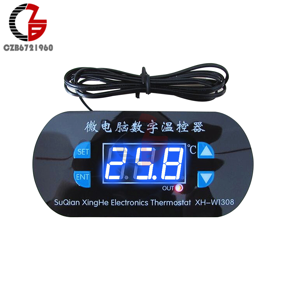 AC 220V 10A LED Digital Thermostat Temperature Controller Regulator Heating Cooling Control Thermostat Instruments Blue Display