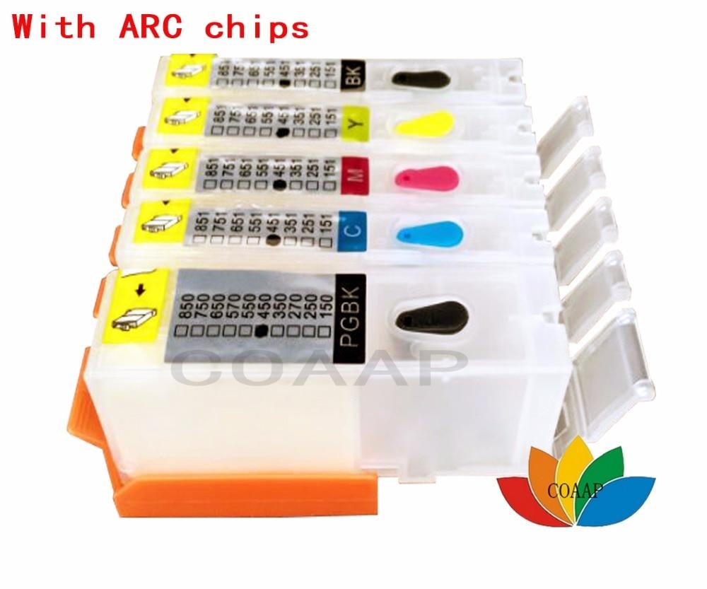 5x многоразовые картриджи CANON 550 551 с чипами ARC для принтера PIXMA IP7250 IP8750 IX6850 MG7150 MG7550 MX725 MX925