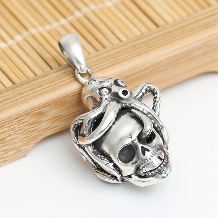 Handmade 925 Silver Skull Pendant vintage thai silver Skeleton pendant pure silver PUNK jewelry gift man pendant