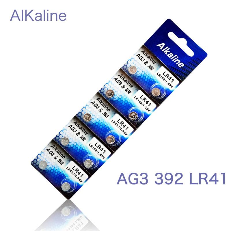 10pcs 1cards AG3 1.55V Button Cell Li-ion Watch Batteries LR41 192 L736 392 SR736 V36A Batteries Colorful Lamp Finger Light