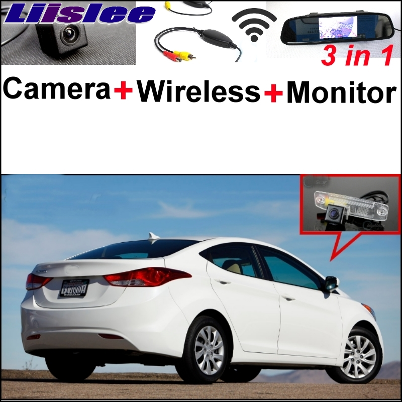Liislee 3 in1 Special Rear View Camera + Wireless Receiver + Mirror Monitor DIY Parking System For Hyundai Avante XD HD MD UD 3 in1 special rear view camera wireless receiver mirror monitor easy diy backup parking system for jeep liberty 2002 2007