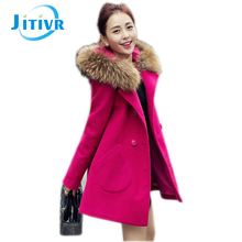 Jitivr Newest Elegant Women's Winter Thick Wool Blends Hooded Coat Female Fur Collar Double Breasted Long Slim Outwear 2016