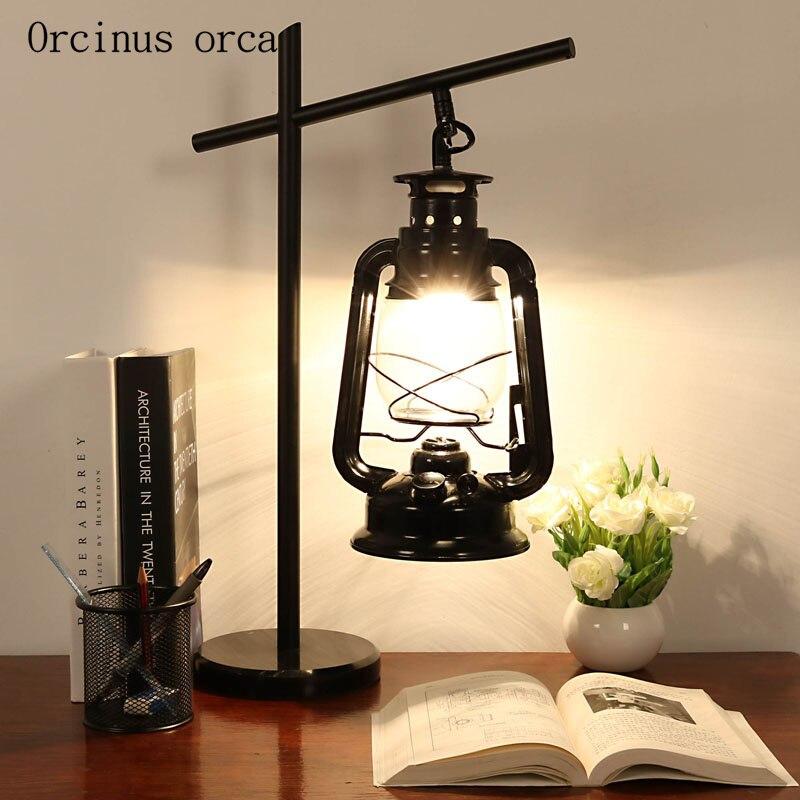 Американский стиль деревенская керосиновая лампа прикроватная лампа для гостиной скандинавские промышленные ветровые железные светодиод