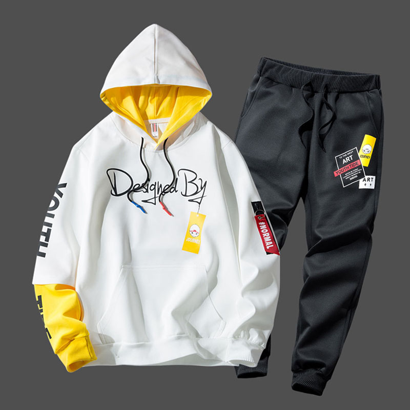 Tracksuit Men Fashion Print Hoodie Sweatpants Teengers Sport Suits Student Casual Outfit Style Sweatsuits Autumn Jogging Men Set