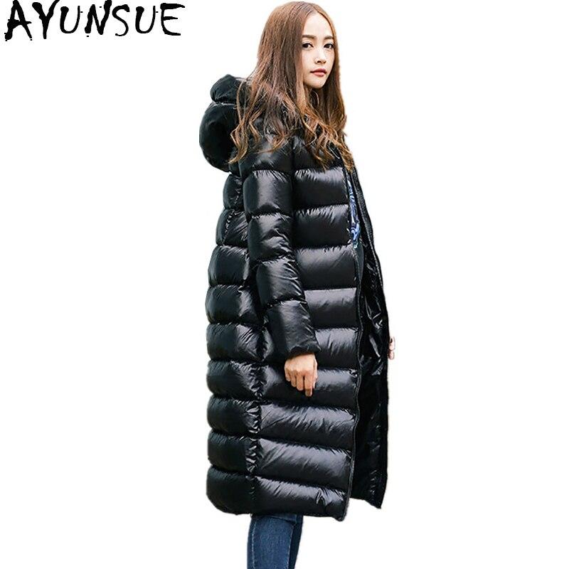 AYUNSUE 2019 Light   Down   Jacket Women Winter Warm   Coats   Black Overcoat 90% White Duck   Down     Coat   Female Long Jackets Parka WYQ799