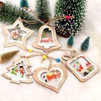 OurWarm 5pcs Wooden DIY Crafts Christmas Tree Ornaments Santa Claus Snowman Elk Pendant Christmas Party Decoration New Year 2019
