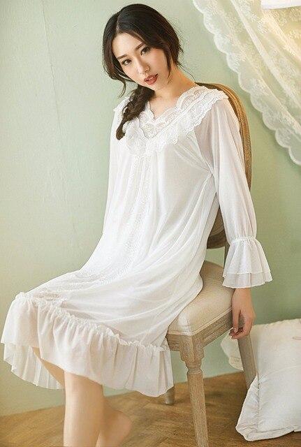 5aa86375cf0 Lace Sleepwear 2018 New Spring Summer Nightgown Female Night Dress Sexy  Nightie Indoor Clothing Loose Plus