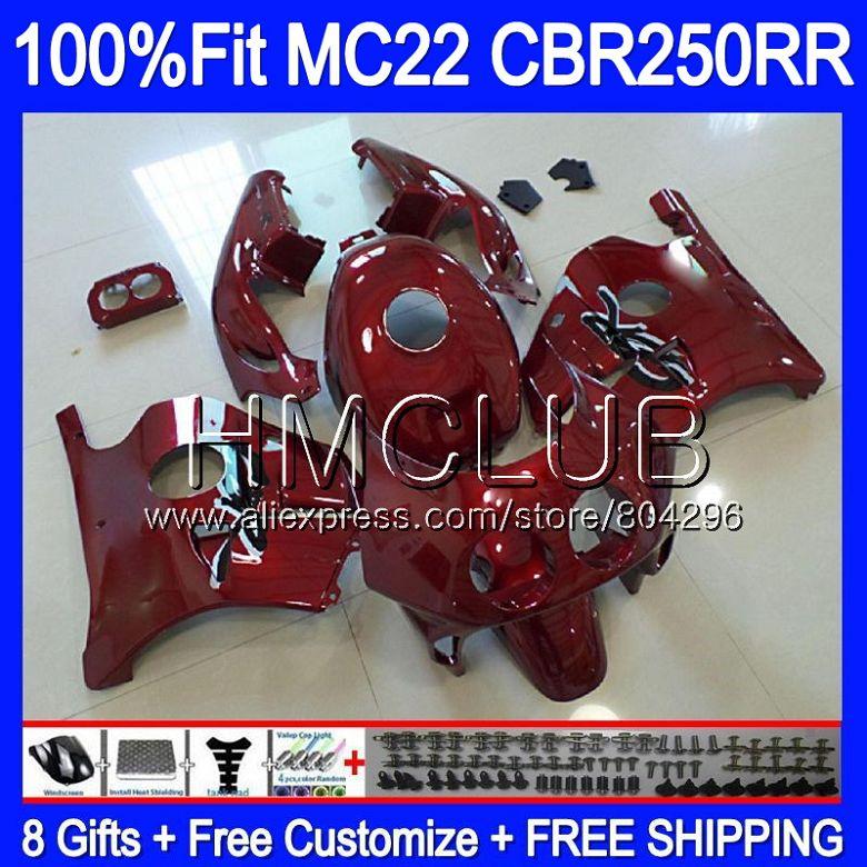 Kit d'injection Pour HONDA CBR 250RR Vin rouge CBR250 RR 90 91 92 93 94 88HM. 10 MC22 CBR250RR 1990 1991 1992 1993 1994 Carénages