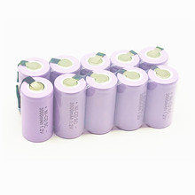 10PCS SC battery rechargeable battery sub battery  SC Ni-Cd battery 1.2 v with tab 3000 mAh for Electric tool 12 pcs lot 4 5 sc 1200mah ni cd battery rechargeable battery sub battery sc battery 1 2 v with tab