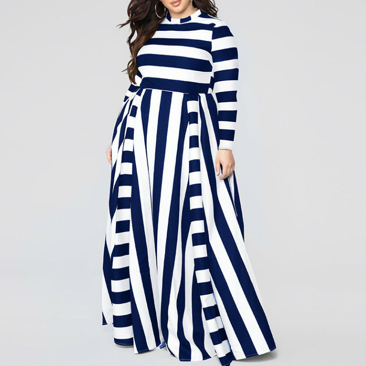 Women Beach Boho Maxi Dress A-Line Striped Print Long Feminine Plus Size