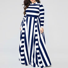 Women Beach Boho Maxi Dress A-Line Striped Print Long Dress Feminine Plus Size Dress