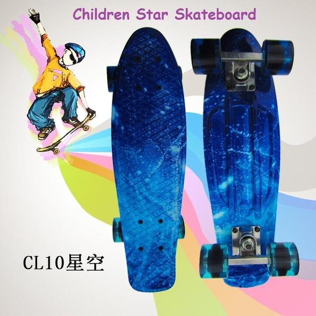 Retro Roller board drift skate Mini Star Skateboard 22inch Kids Rocket board PP plastic Longboard Portable Cruiser Painted board