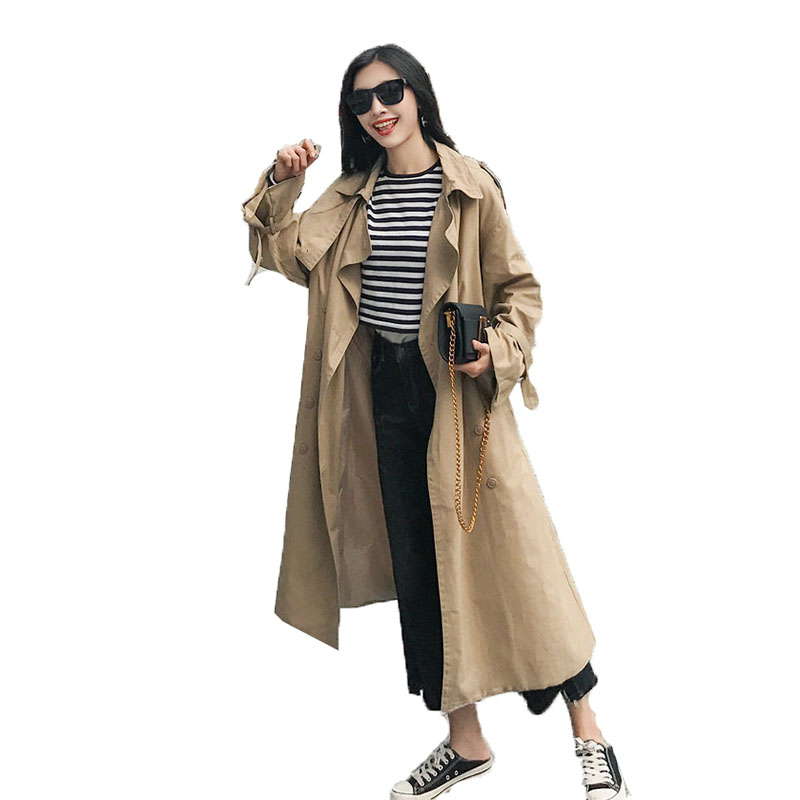 Spring Autumn   Trench   Women coat 2019 Loose Long Khaki Windbreaker Double Breasted Slim Coat Long   Trench   Coat With belt