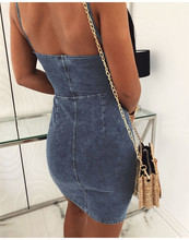 Denim Patchwork Design Sleeveless Backless Mini Dress