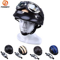Vintage Motorcycle Helmet Motors Moto Leather Capacete Casco Casque Cruiser For Cafe Racer ATV UV Goggles Glasses Half Helmets