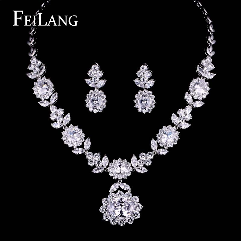 FEILANG Platinum Plated Pure Big AAA Cubic Zirconia Diamond
