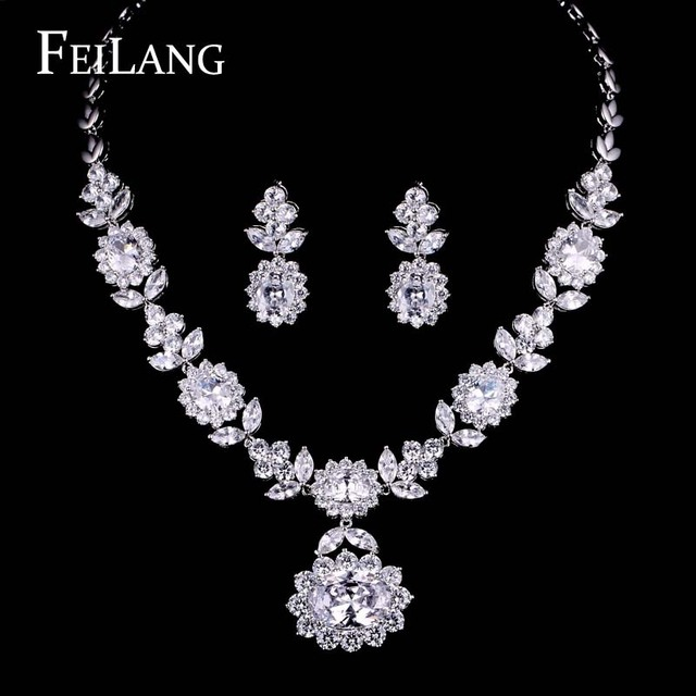 Feilang Platinum Plated Pure Aaa Cubic Zirconia Diamond Earrings Necklace Jewelry Sets Factory Price Free