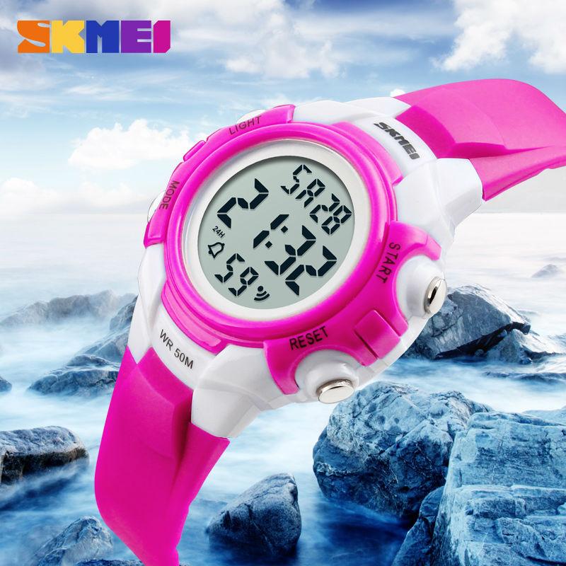 Children Sport Digital Wristwatches Boy Clock Kids Alarm Girl Watches PU Strap Chrono Waterproof Watch EL