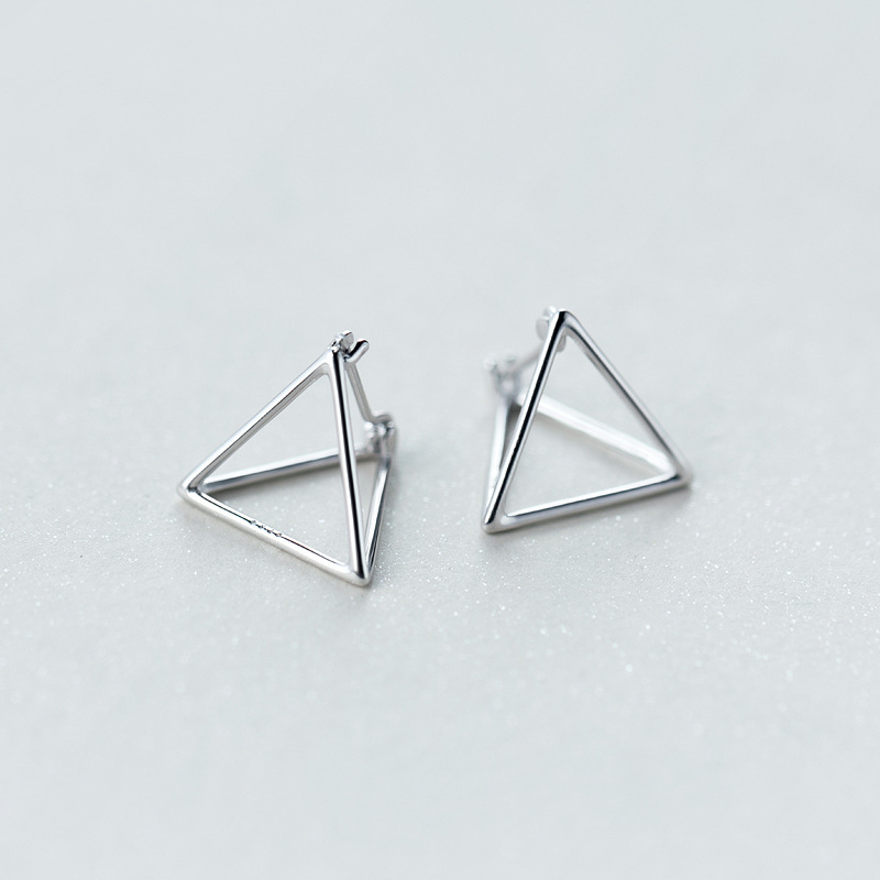 Popular Contemporary 3D Triangle 925 sterling silver Pyramid Earrings  FA19
