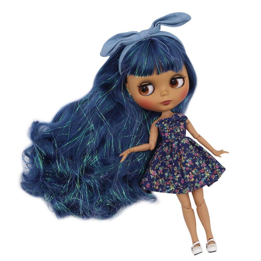 ICY Fortune Days ตุ๊กตาบลายธ์ตุ๊กตาผิว joint body ใหม่ matte face Shiny blue curly ผม DIY sd ของขวัญของเล่น-ใน ตุ๊กตา จาก ของเล่นและงานอดิเรก บน   1