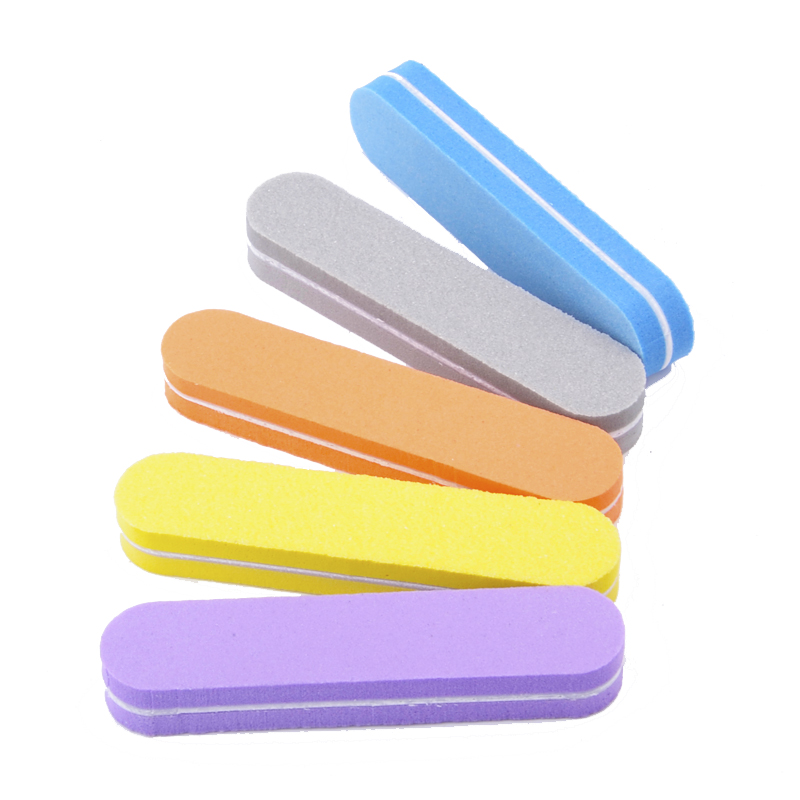 10PCS/lot  Mini Nail Files Nail Art Beauty Salon Buffer 100/180 Sandpaper Sponge Polisher Manicure Pedicure Nail Glitter Tools