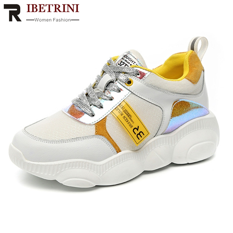 RIBETRINI 2019 New INS Hot Colored Women Genuine   Leather     Suede   Sneakers Spring Autumn Girl Fashion Tenis Women Shoes Woman