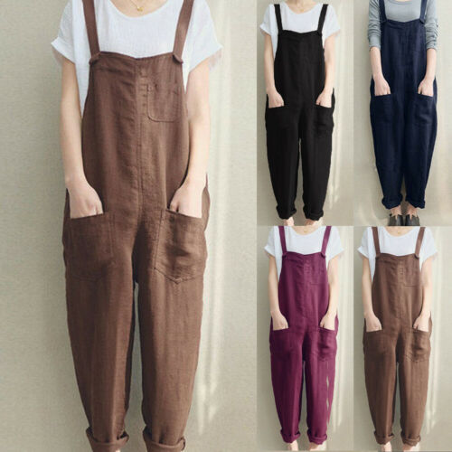 Oversize Women's Harem Pants Casual Wide Legs Loose Trousers Plus Size Baggy One-Piece Jumpsuits Overalls