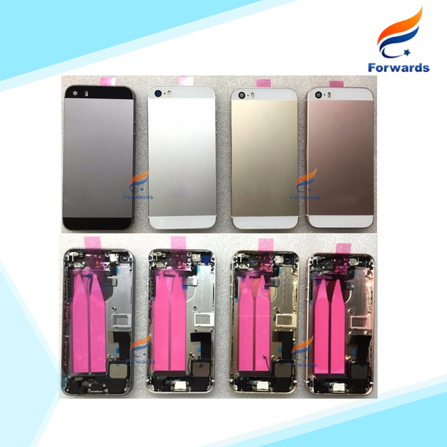 10pcs/lot DHL/EMS free shipping for iPhone SE 5SE Full Housing Metal Alloy Battery Door Back Cover+ flex cable+ buttons assembly