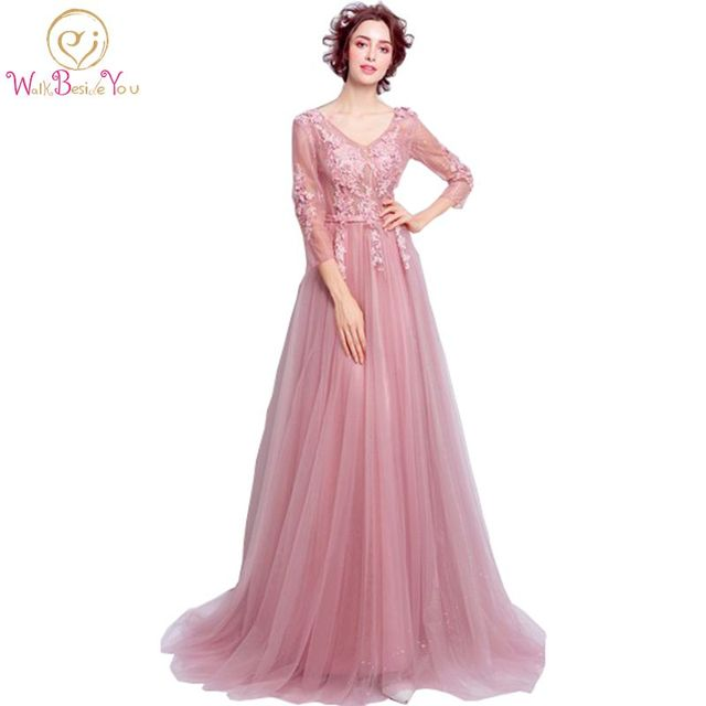 Long 3/4 Sleeve Gown Evening Dresses Pink Beaded Floral Lace kleider ...