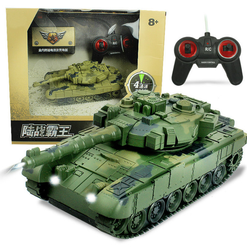 1/18 RC Tank Model for Kid Boy Infrared Remote Control Battle Heavy Tank Flashing Headlights Simulation Sound Effect Child Gift 2 4g huanqi 516c rc infrared battle tank automatic shows tank remote control toys tank for children gift 1pcs lot