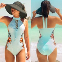 Raintropical 2019 New Sexy One Piece Swimsuit Women Vintage Retro Swimwear High Cut Monokini Swim Print Cross Back Bathing Suits