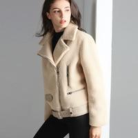 Titotato Autumn And Winter Women Jacket Lamb Hair Coat Fur Warm Female Jacket Lapel Zip One Short Lambswool For Jacket Men Pilot
