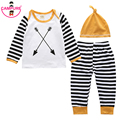 2017 Newborn Baby Boys Girls Clothing Upper Long-Sleeved cotton T-shirt +Striped Trousers+Hat Set Kids Outfit Clothes Fall 3pcs