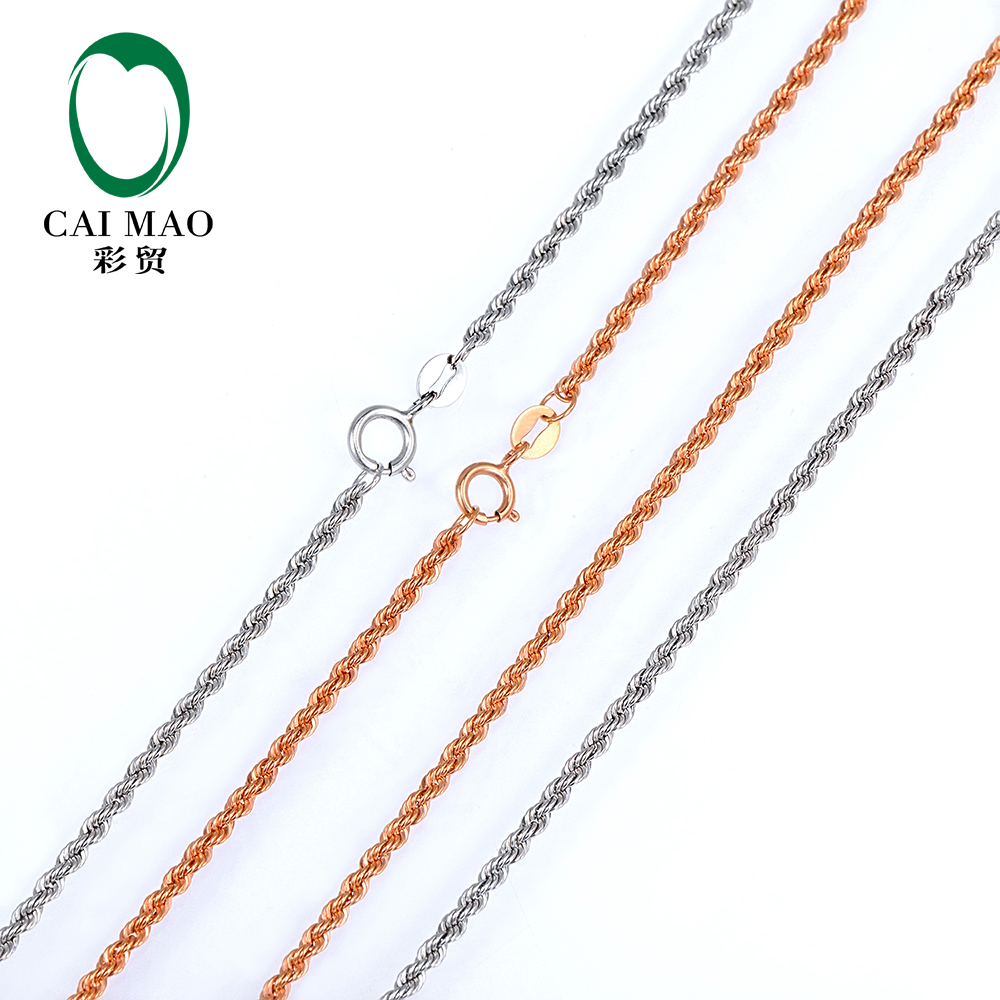 18 K покрытое розовым или цепочка из белого золота Цепочки и ожерелья 20 дюймов, около 50 см для женщин и мужчин